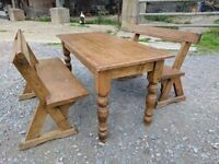stunning antique table and pews...delivery available