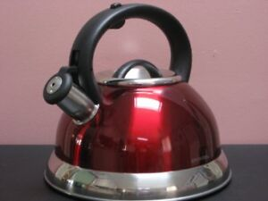 NEW  Red Heavy Gauge Stainless Steel Whistling Tea Kettle