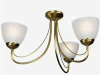 New still in box Antique brass effect 3 arm ceiling light, frosted glass shades see desc