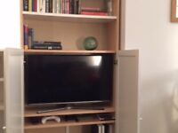 TV Cabinet / Bookcase - Birch veneer bookcase with white doors and built-in cable trunking