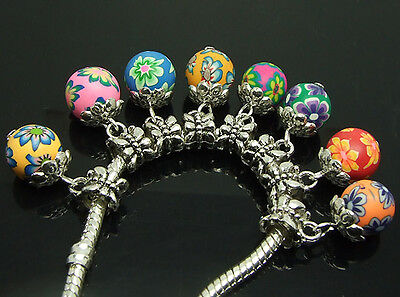 mixed color Polymer Clay spacer beads 8pcs fit charm bracelet f0597 on Rummage