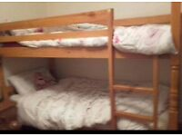 pine bed, bunk bed or two single beds. Frame: £50 Mattress: £25 each