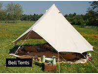 BELL TENT 4m ZIPPED IN GROUND SHEET, NEW ITEM