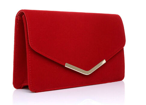 Envelope Faux Suede Red Clutch