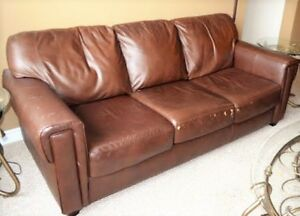 Mid-brown Leather Sofa