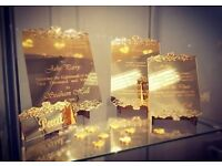 Laser cut and engraved services for all occasions, invitations,table plans,names,gifts and many more