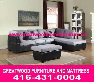 BRAND NEW FABRIC SECTIONAL WITH FREE STORAGE OTTOMAN...$529 ONLY