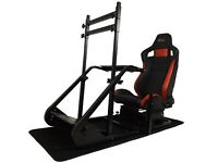 Racing simulator seat GT Omega with T300RS wheel and shifter and pedals
