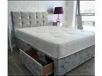🔵💖🔴COLOR'S OPTION🔵💖🔴CRUSHED VELVET DIVAN BED BASE SINGLE/DOUBLE/KING SIZE DIFF MATRESSES