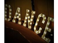 4ft Marquee LOVE & DANCE Light up letters - wedding and event hire for Northamptonshire and beyond