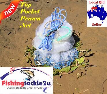 "Top Pocket Prawn Bait Fishing Cast Net Mono 9,10,12ft,3/4"" Mesh"