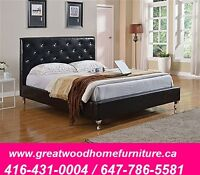 LEATHER BED WITH CRYSTALS ....$349