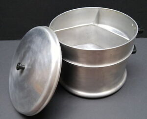 Vintage extra-thick aluminum waterless double cooking pot w lid