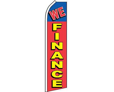 We Finance Car Dealer Lot Swooper Banner Feather Flutter Tall Curved Top Flag