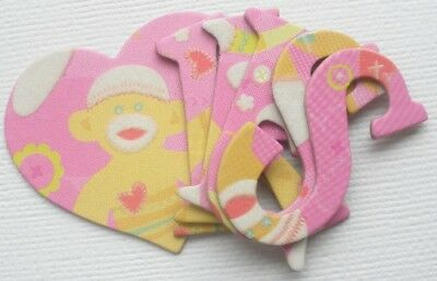 K &  Company ~SOCK MONKEY~ Chipboard Letters Die Cuts & Embellishments 1.5
