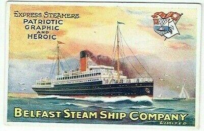 POSTER ADVERT POSTCARD BELFAST STEAM SHIP COMPANY VINTAGE 1905-10