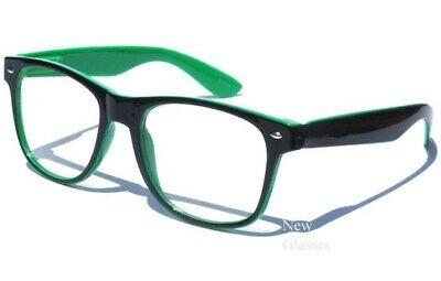 BLACK AND GREEN FRAME CLEAR LENS NERD HIPSTER RETRO UNISEX COOL (Green Hipster Glasses)