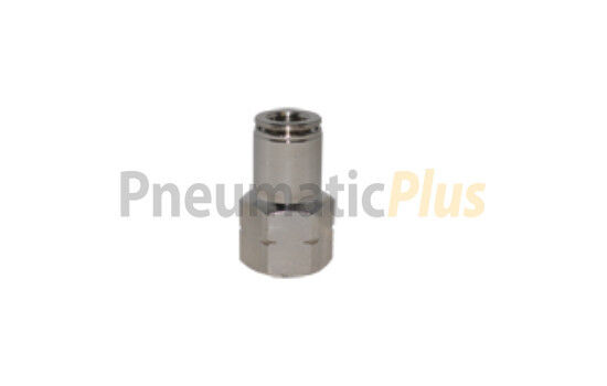 """1/4"""" OD x 1/8"""" NPT Female Straight Ni Plated Brass Push To Connect Tube Fitting"""