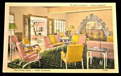 Living Room Hotel Humboldt Venezuela Postcard PC Circa 1950s Unused