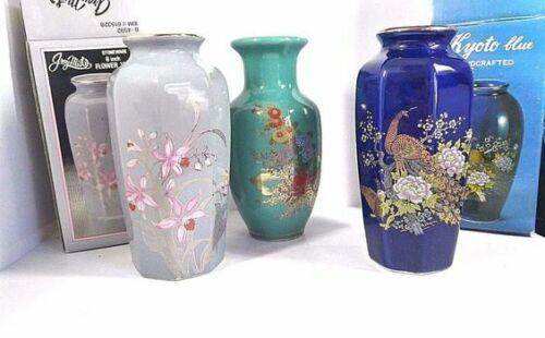 Vintage Japan Handcrafted Porcelain Flowers Floral Vase Kyoto Graymist 3 Vases