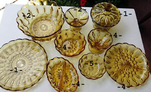 31- pieces  Amber/Yellow Collectible Vintage Dishes