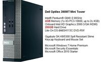 Newer Dell 390MT Sandy Bridge G840 / 4G / 250G Win 7 Mini Tower