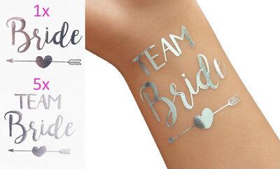 attoos Team Bride in silber für JGA und Hochzeit/ Team Braut (Hochzeit Temporäre Tattoos)