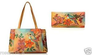 Anuschka-Large-Shopper-Handbag-Wallet-Bird-on-a-Wire-NWT-Leather