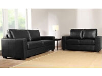 Brand New 3+2+1 PU Leather Sofa Set in Black or Brown colour, Faux Leather Suite from £199