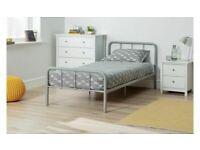 Home Charlie Single Metal Bed Frame - Silver