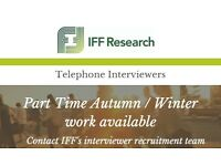 Telephone Interviewer- Part time Autumn/Winter Role- £8.00 - £9.75 p/h