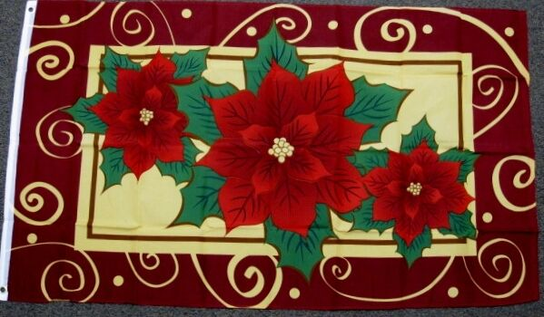3X5 POINSETTIA FLAG CHRISTMAS BANNER HAPPY HOLIDAY SEASON WELCOME XMAS NEW F293