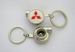 MITSUBISHI-Spinning-Turbo-Keyring-CHROME-Keychain-EVO-Lancer-cordia-starion