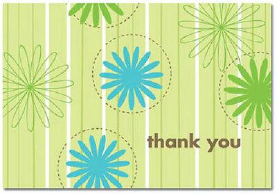 Aqua Blue Green Daisy Wedding Bridal Shower Thank You Notes 24/pk