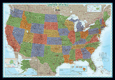 UNITED STATES/USA Wall Map Poster - National Geographic Decorator - Paper 2014