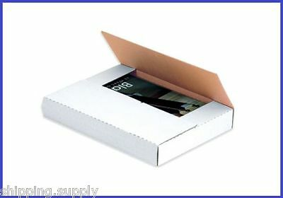 50 Count - White Multi Depth Media Mailer Bookfold Book Shipping Box - 21 Sizes