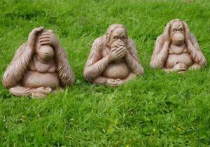 3 Wise Monkeys Speak See Hear No Evil Large Garden Ornament Modern Statue Gift