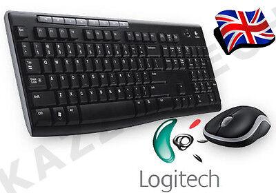 Logitech MK270 Wireless UK QWERTY KeyBoard and Mouse Desktop Combo Set Black...