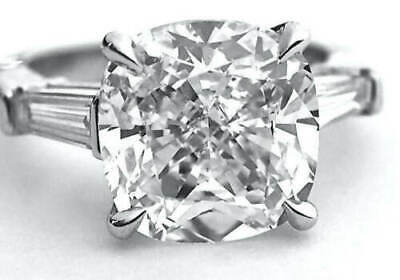 Natural 2.90 Ct Cushion Cut 3-Stone Baguette Diamond Engagement Ring F VS2 GIA 1