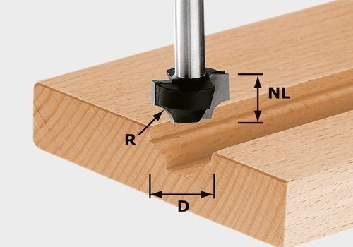 Festool Viertelstabfräser HW Schaft 8 mm D17/R3-D27/R8, 491004