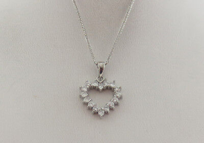 Genuine Diamonds Studded HEART Pendant Solid 14k White Gold Necklace 16