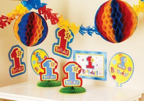 10 Piece HAPPY 1st BIRTHDAY One-derful Blue Boy Full Party Room Decorating Kit