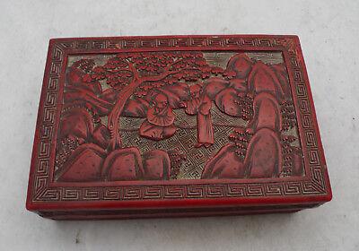 Antique Chinese Red Cinnabar Lacquer Box 14cm x 9.4cm x 4.4cm 278g A602017