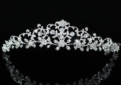 Bridal Wedding Flower Tiara use Swarovski Crystal CT1470
