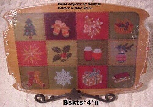 NEW Longaberger Wood CHRISTMAS TRADITIONS Basket PATCHWORK LID 2002 inShrinkwrap