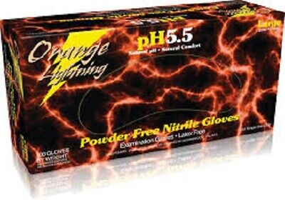 100pcs BLACK LIGHTNING or ORANGE LIGHTNING NITRILE GLOVES SIZES S - XXL 6mil