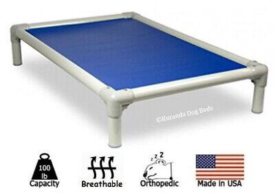 Kuranda Indoor/Outdoor Dog Bed - Almond Frame - Open Weave Fabric - Pacific Blue Blue Orthopedic Dog Bed