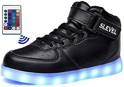SLEVEL LED Light up Shoes USB Flashing Sneakers for Kids Boys Girls(SS98Black39)