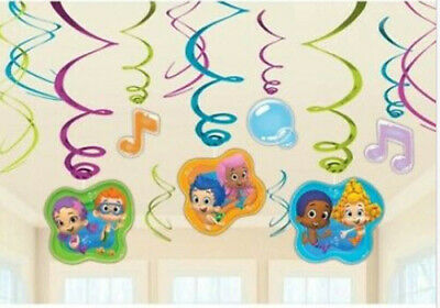 Bubble Guppies Decoration (BUBBLE GUPPIES Birthday Party hanging swirl decoration kit 12 pcs with foil)