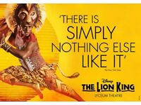 The lion king theatre tickets x 2 - LESS THAN FACE VALUE!!! Royal circle - 1st May